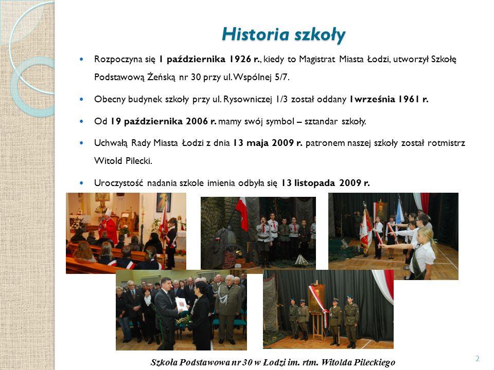 2 Historia szkoły Rozpoczyna się 1 października 1926 r., kiedy to Magistrat Miasta Łodzi, utworzył Szkołę Podstawową Żeńską nr 30 przy ul.