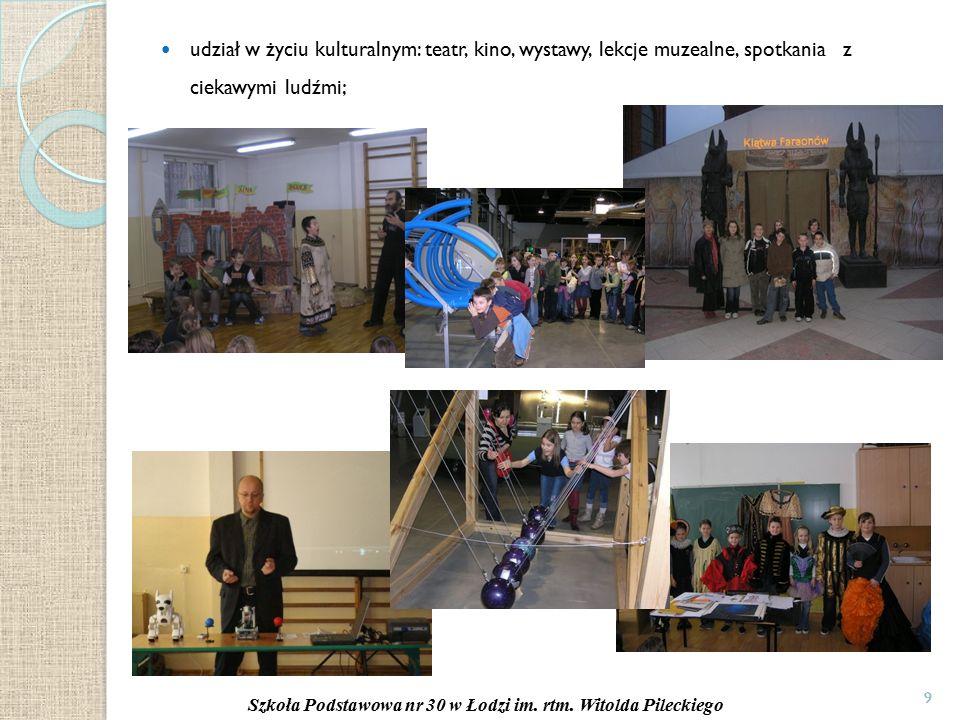 9 udział w życiu kulturalnym: teatr, kino, wystawy, lekcje muzealne, spotkania z ciekawymi ludźmi; 9 Szkoła Podstawowa nr 30 w Łodzi im.