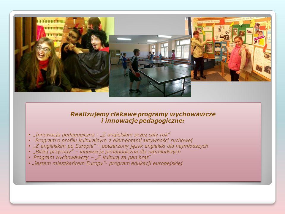"""Realizujemy ciekawe programy wychowawcze i innowacje pedagogiczne: """"Innowacja pedagogiczna - """"Z angielskim przez cały rok Program o profilu kulturalnym z elementami aktywności ruchowej """"Z angielskim po Europie – poszerzony język angielski dla najmłodszych """"Bliżej przyrody – innowacja pedagogiczna dla najmłodszych Program wychowawczy – """"Z kulturą za pan brat """"Jestem mieszkańcem Europy - program edukacji europejskiej Realizujemy ciekawe programy wychowawcze i innowacje pedagogiczne: """"Innowacja pedagogiczna - """"Z angielskim przez cały rok Program o profilu kulturalnym z elementami aktywności ruchowej """"Z angielskim po Europie – poszerzony język angielski dla najmłodszych """"Bliżej przyrody – innowacja pedagogiczna dla najmłodszych Program wychowawczy – """"Z kulturą za pan brat """"Jestem mieszkańcem Europy - program edukacji europejskiej"""