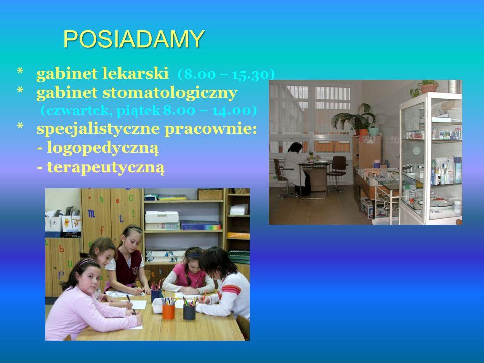 POSIADAMY * gabinet lekarski (8.00 – 15.30) * gabinet stomatologiczny (czwartek, piątek 8.00 – 14.00) * specjalistyczne pracownie: - logopedyczną - terapeutyczną