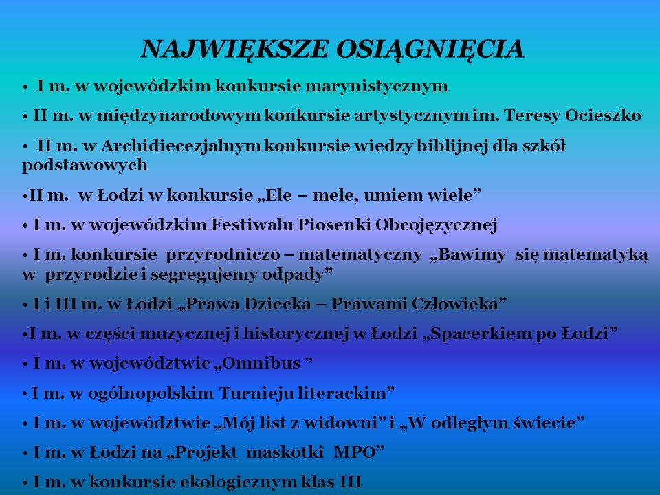 NAJWIĘKSZE OSIĄGNIĘCIA I m. w wojewódzkim konkursie marynistycznym II m.