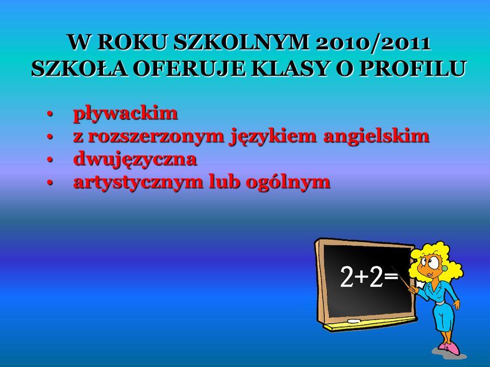 W ROKU SZKOLNYM 2010/2011 SZKOŁA OFERUJE KLASY O PROFILU pływackim pływackim z rozszerzonym językiem angielskim z rozszerzonym językiem angielskim dwujęzyczna dwujęzyczna artystycznym lub ogólnym artystycznym lub ogólnym