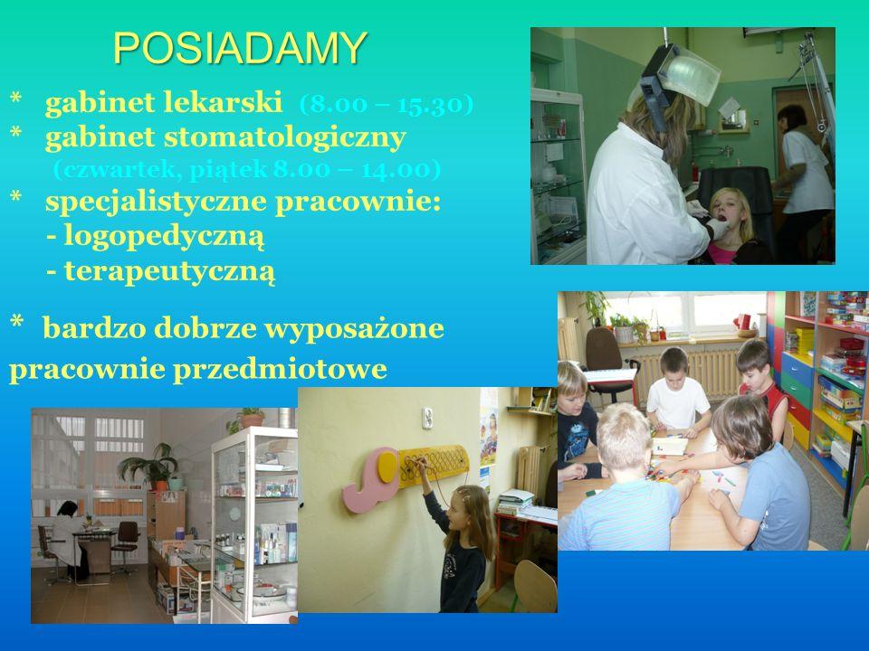 POSIADAMY * gabinet lekarski (8.00 – 15.30) * gabinet stomatologiczny (czwartek, piątek 8.00 – 14.00) * specjalistyczne pracownie: - logopedyczną - terapeutyczną * bardzo dobrze wyposażone pracownie przedmiotowe