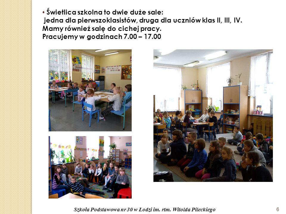 Świetlica szkolna to dwie duże sale: jedna dla pierwszoklasistów, druga dla uczniów klas II, III, IV.
