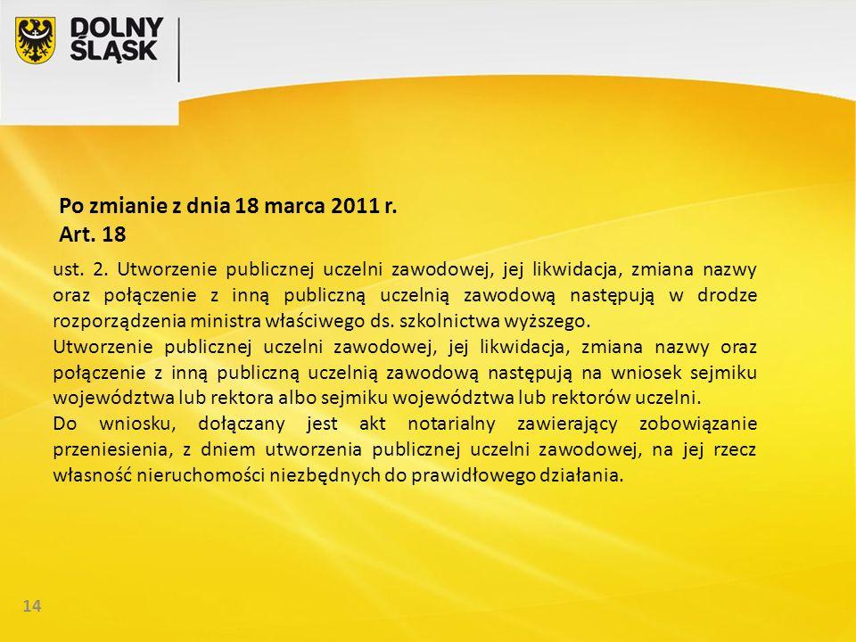 14 Po zmianie z dnia 18 marca 2011 r. Art. 18 ust.