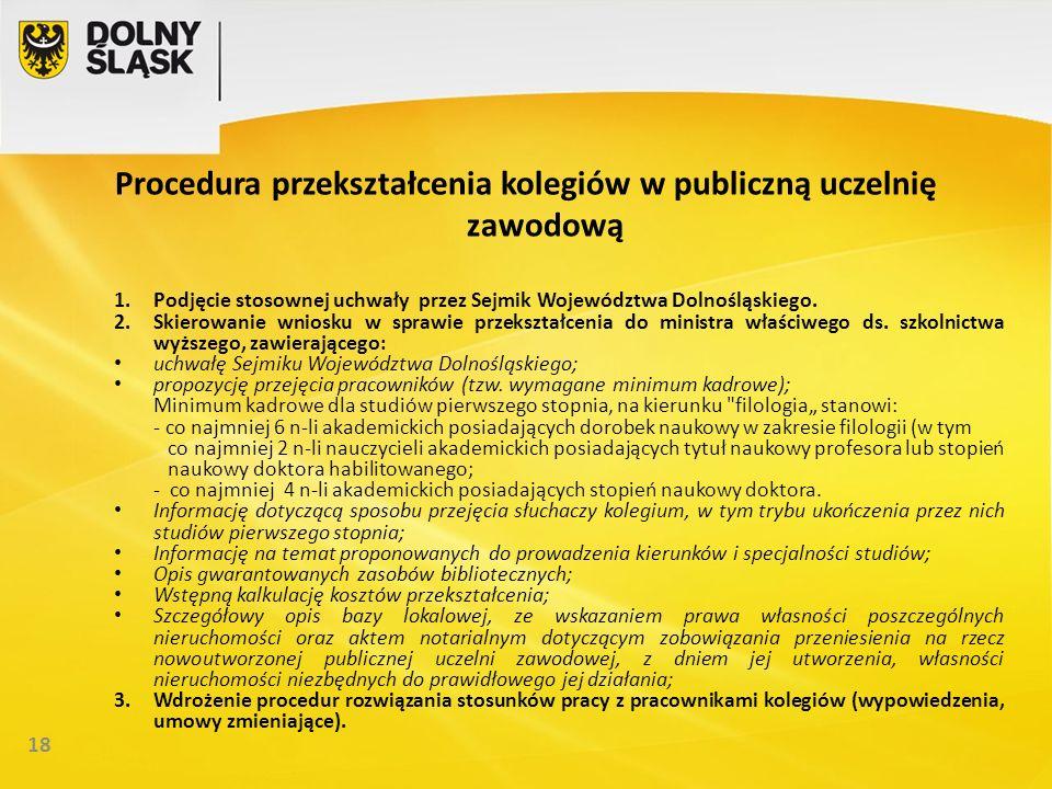 18 Procedura przekształcenia kolegiów w publiczną uczelnię zawodową 1.Podjęcie stosownej uchwały przez Sejmik Województwa Dolnośląskiego.