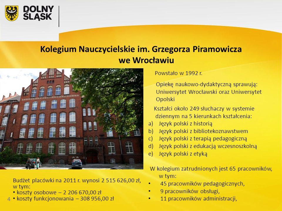 Kolegium Nauczycielskie im. Grzegorza Piramowicza we Wrocławiu 4 Powstało w 1992 r.