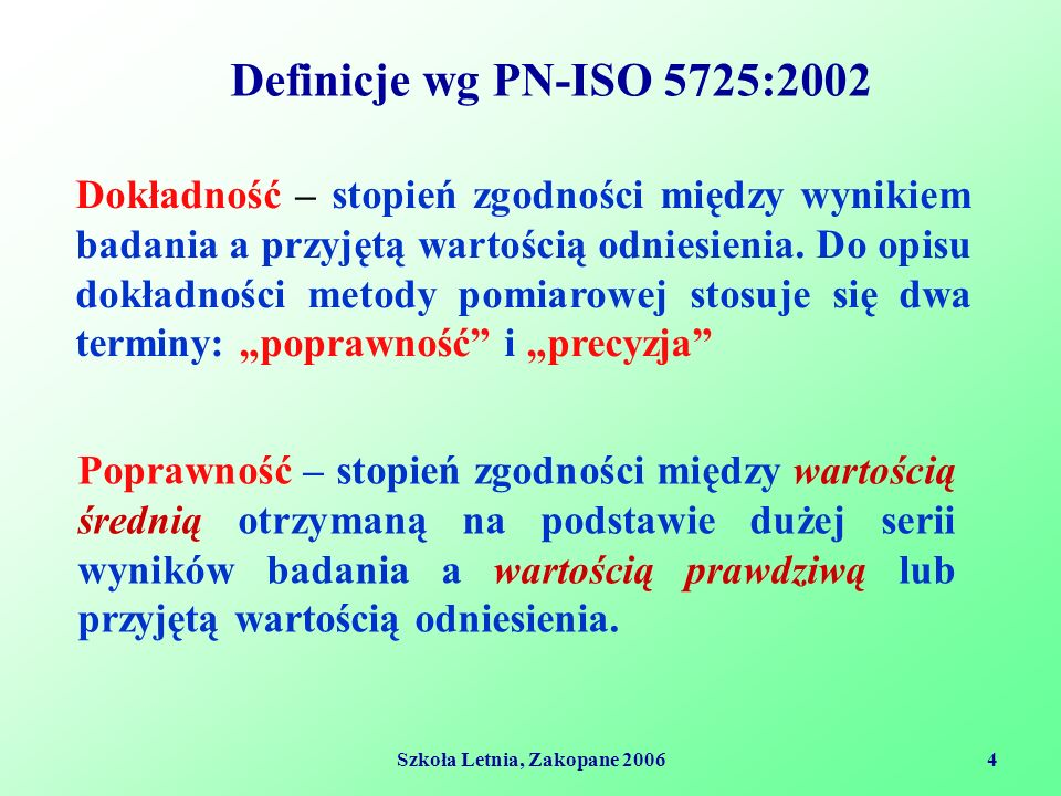 Szkoła Letnia, Zakopane 20064 Definicje wg PN-ISO 5725:2002 Dokładność – stopień zgodności między wynikiem badania a przyjętą wartością odniesienia.