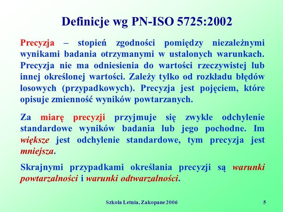 Szkoła Letnia, Zakopane 20065 Definicje wg PN-ISO 5725:2002 Precyzja – stopień zgodności pomiędzy niezależnymi wynikami badania otrzymanymi w ustalonych warunkach.