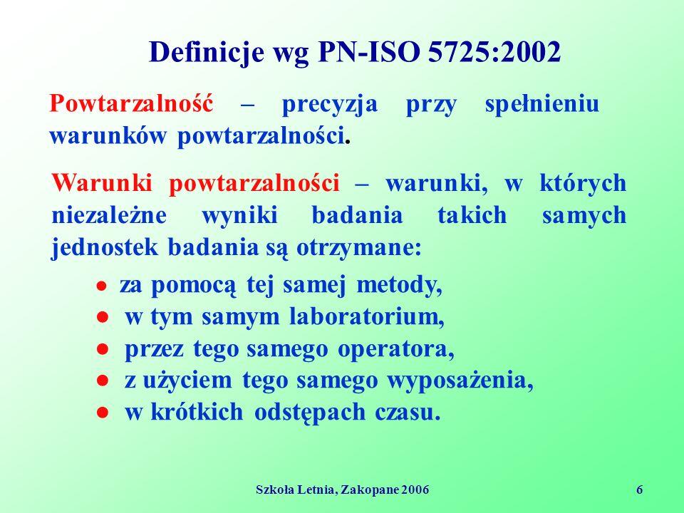 Szkoła Letnia, Zakopane 20067 Definicje wg PN-ISO 5725:2002 Odchylenie standardowe powtarzalności – odchylenie standardowe wyników badania otrzymanych w spełnionych warunkach powtarzalności.