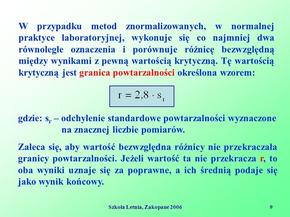 Szkoła Letnia, Zakopane 20069 W przypadku metod znormalizowanych, w normalnej praktyce laboratoryjnej, wykonuje się co najmniej dwa równoległe oznaczenia i porównuje różnicę bezwzględną między wynikami z pewną wartością krytyczną.