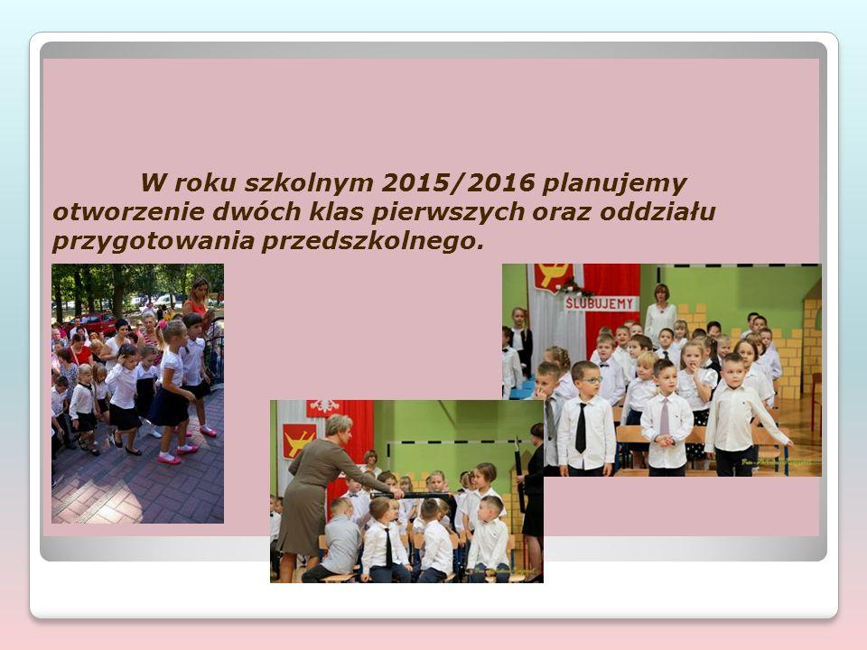 W roku szkolnym 2015/2016 planujemy otworzenie dwóch klas pierwszych oraz oddziału przygotowania przedszkolnego.