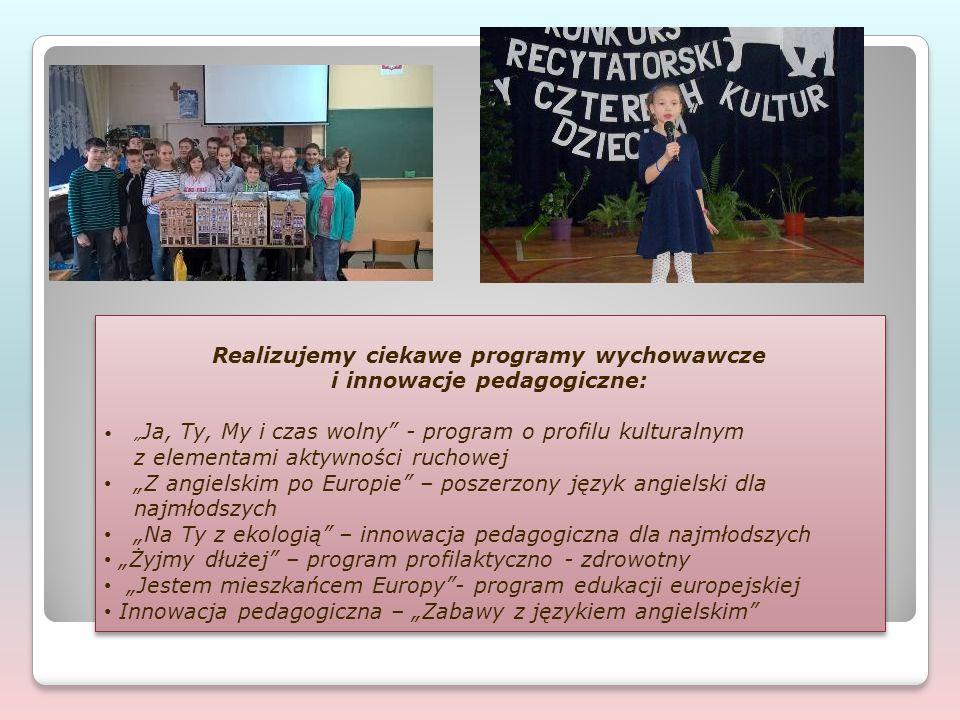 """Realizujemy ciekawe programy wychowawcze i innowacje pedagogiczne: """" Ja, Ty, My i czas wolny - program o profilu kulturalnym z elementami aktywności ruchowej """"Z angielskim po Europie – poszerzony język angielski dla najmłodszych """"Na Ty z ekologią – innowacja pedagogiczna dla najmłodszych """"Żyjmy dłużej – program profilaktyczno - zdrowotny """"Jestem mieszkańcem Europy - program edukacji europejskiej Innowacja pedagogiczna – """"Zabawy z językiem angielskim Realizujemy ciekawe programy wychowawcze i innowacje pedagogiczne: """" Ja, Ty, My i czas wolny - program o profilu kulturalnym z elementami aktywności ruchowej """"Z angielskim po Europie – poszerzony język angielski dla najmłodszych """"Na Ty z ekologią – innowacja pedagogiczna dla najmłodszych """"Żyjmy dłużej – program profilaktyczno - zdrowotny """"Jestem mieszkańcem Europy - program edukacji europejskiej Innowacja pedagogiczna – """"Zabawy z językiem angielskim"""