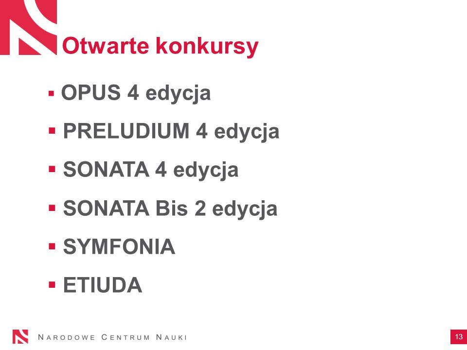 Otwarte konkursy  OPUS 4 edycja  PRELUDIUM 4 edycja  SONATA 4 edycja  SONATA Bis 2 edycja  SYMFONIA  ETIUDA 13