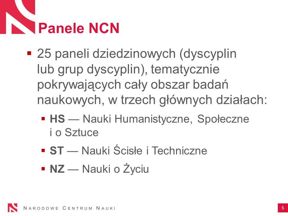 Panele NCN  25 paneli dziedzinowych (dyscyplin lub grup dyscyplin), tematycznie pokrywających cały obszar badań naukowych, w trzech głównych działach:  HS — Nauki Humanistyczne, Społeczne i o Sztuce  ST — Nauki Ścisłe i Techniczne  NZ — Nauki o Życiu 5