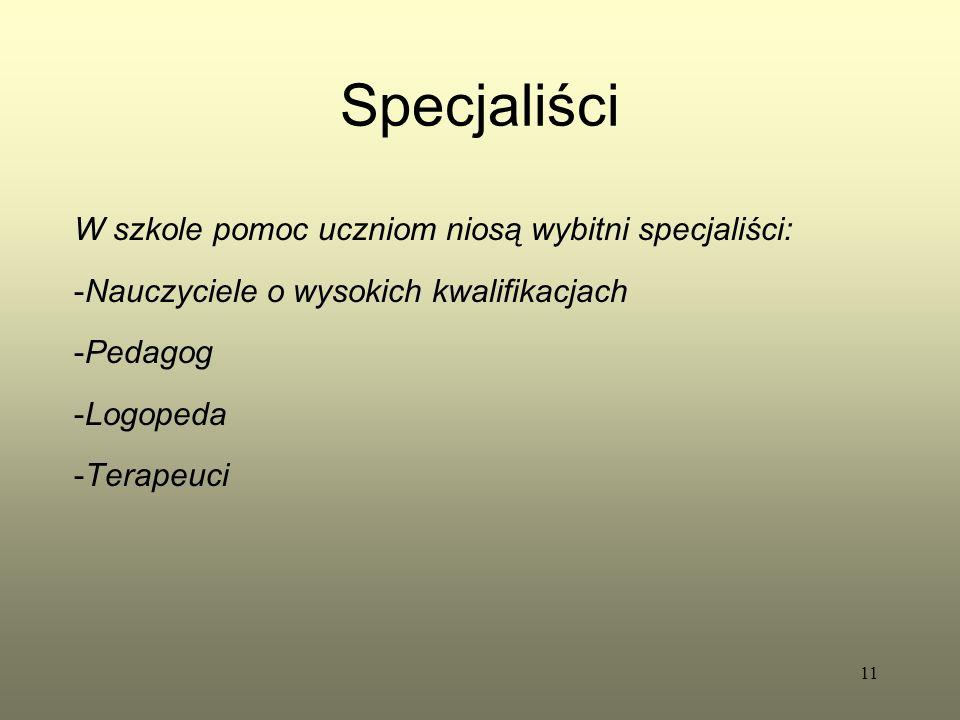 Specjaliści W szkole pomoc uczniom niosą wybitni specjaliści: -Nauczyciele o wysokich kwalifikacjach -Pedagog -Logopeda -Terapeuci 11