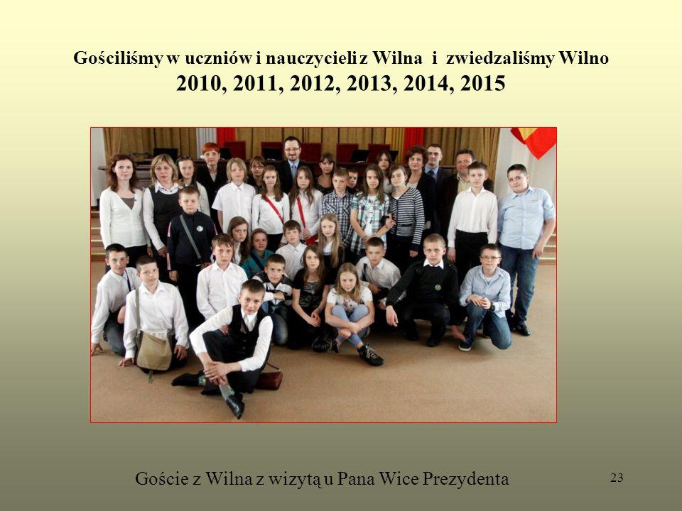 Gościliśmy w uczniów i nauczycieli z Wilna i zwiedzaliśmy Wilno 2010, 2011, 2012, 2013, 2014, 2015 Goście z Wilna z wizytą u Pana Wice Prezydenta 23