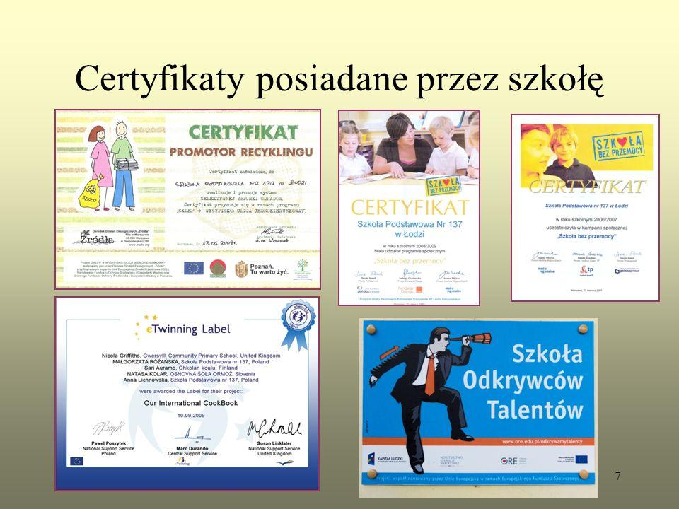 Certyfikaty posiadane przez szkołę 7