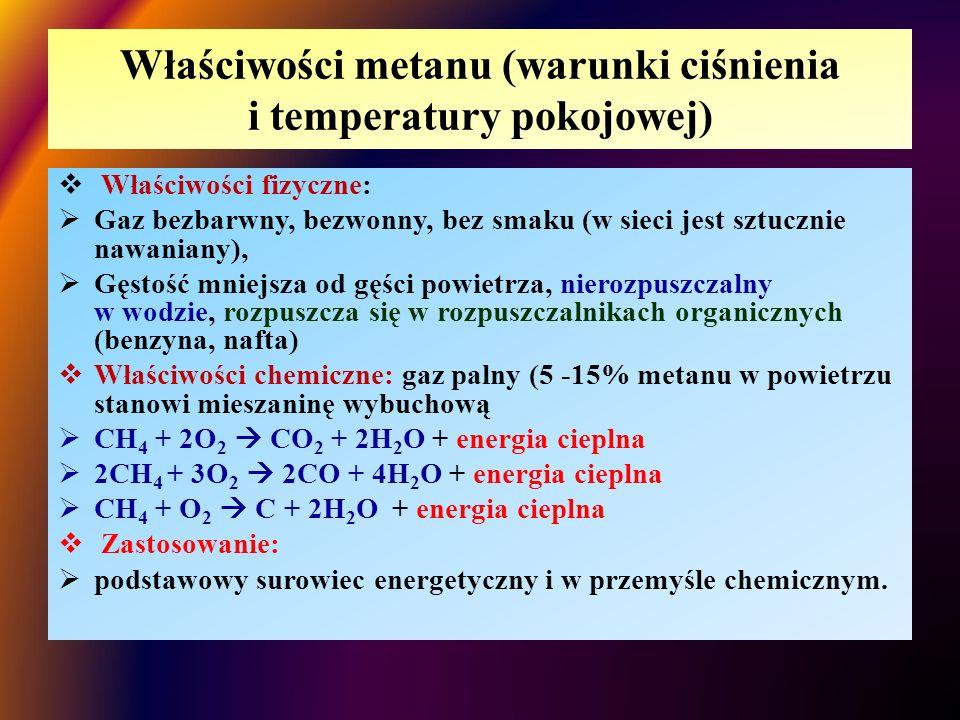Właściwości metanu (warunki ciśnienia i temperatury pokojowej)  Właściwości fizyczne:  Gaz bezbarwny, bezwonny, bez smaku (w sieci jest sztucznie na