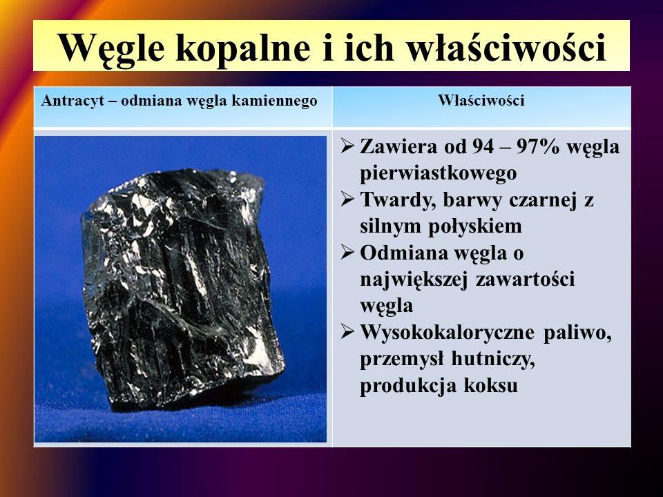 Węgle kopalne i ich właściwości Węgiel kamiennyWłaściwości  Zawiera 75 -92% węgla pierwiastkowego  Twardy ale kruchy, barwy czarnej  Zastosowanie: surowiec energetyczny, otrzymywanie koksu, w procesie pirolizy otrzymuje się różnorodne związki organiczne i nieorganiczne stosowane w przemyśle chemicznym