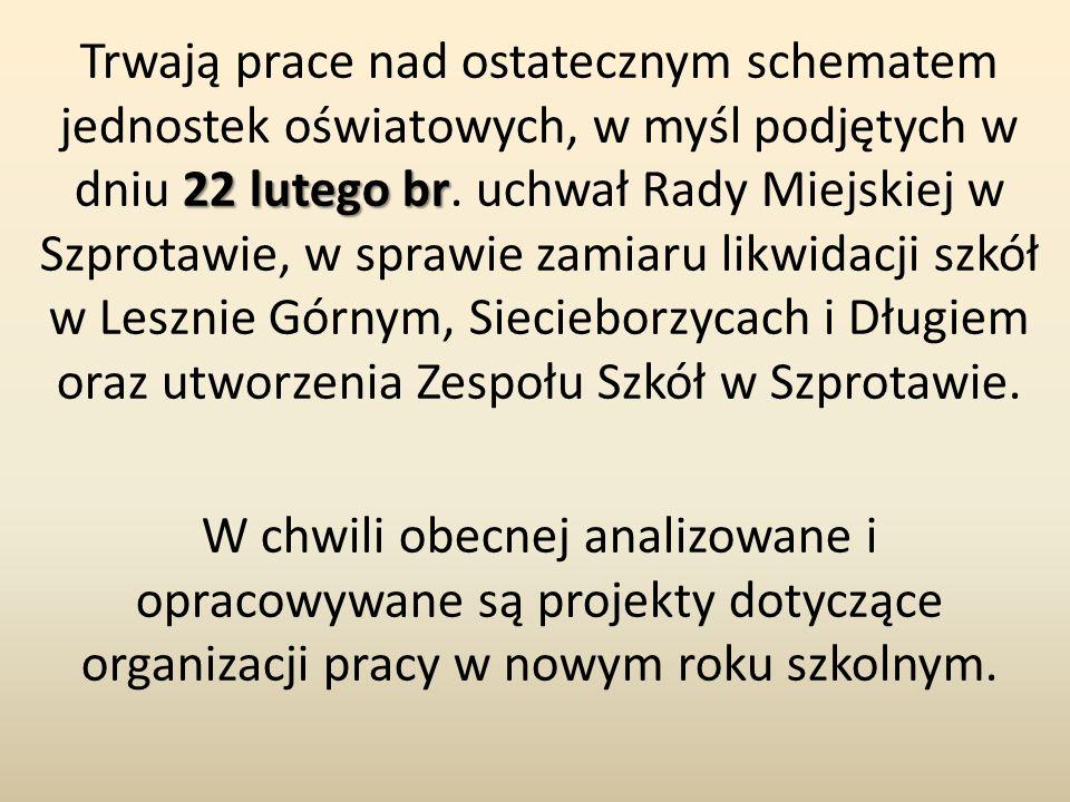 22 lutego br Trwają prace nad ostatecznym schematem jednostek oświatowych, w myśl podjętych w dniu 22 lutego br. uchwał Rady Miejskiej w Szprotawie, w