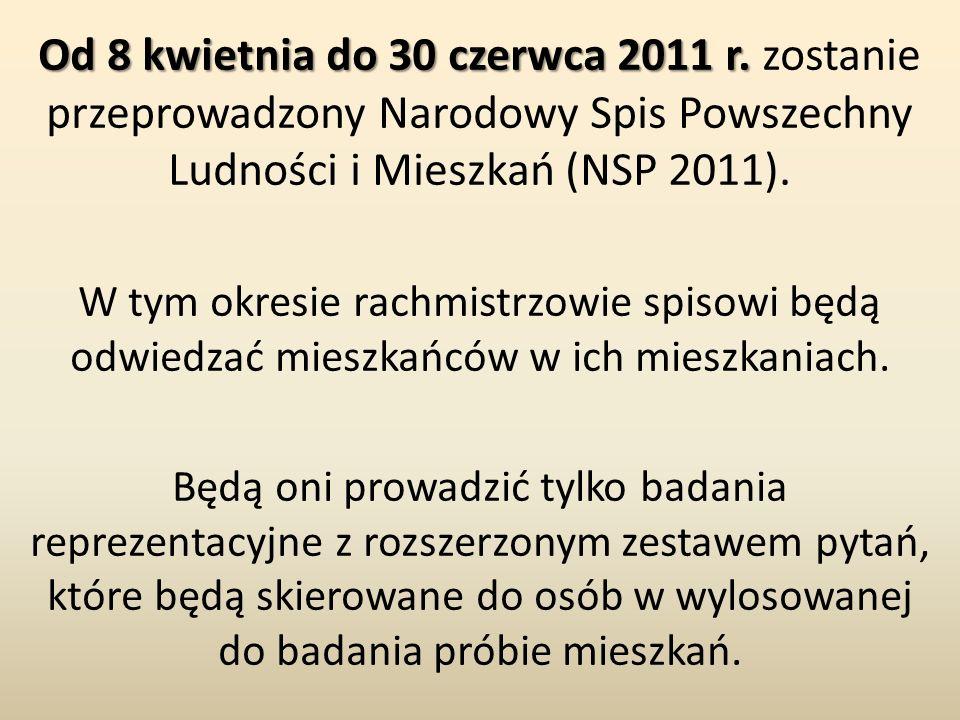 Od 8 kwietnia do 30 czerwca 2011 r. Od 8 kwietnia do 30 czerwca 2011 r. zostanie przeprowadzony Narodowy Spis Powszechny Ludności i Mieszkań (NSP 2011