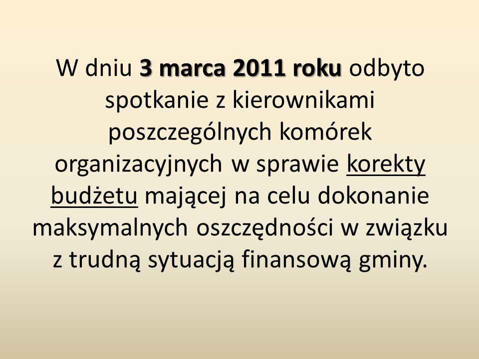 3 marca 2011 roku W dniu 3 marca 2011 roku odbyto spotkanie z kierownikami poszczególnych komórek organizacyjnych w sprawie korekty budżetu mającej na