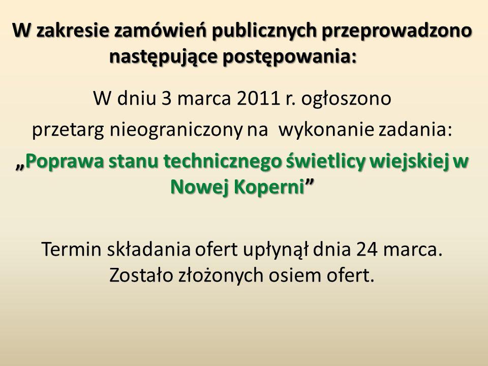 W zakresie zamówień publicznych przeprowadzono następujące postępowania: W zakresie zamówień publicznych przeprowadzono następujące postępowania: W dn