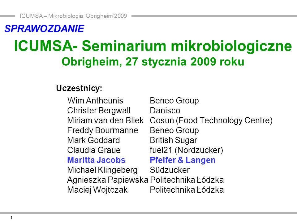 ICUMSA – Mikrobiologia, Obrigheim'2009 1 ICUMSA- Seminarium mikrobiologiczne Obrigheim, 27 stycznia 2009 roku Uczestnicy: Wim Antheunis Beneo Group Ch