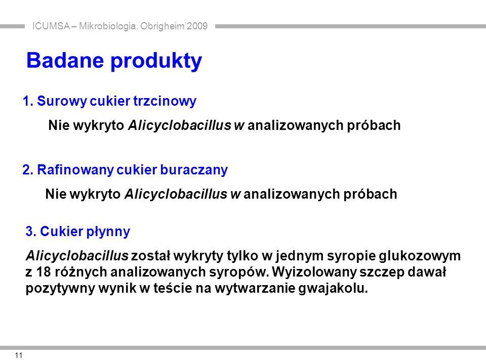 ICUMSA – Mikrobiologia, Obrigheim'2009 11 Badane produkty 1. Surowy cukier trzcinowy Nie wykryto Alicyclobacillus w analizowanych próbach 3. Cukier pł