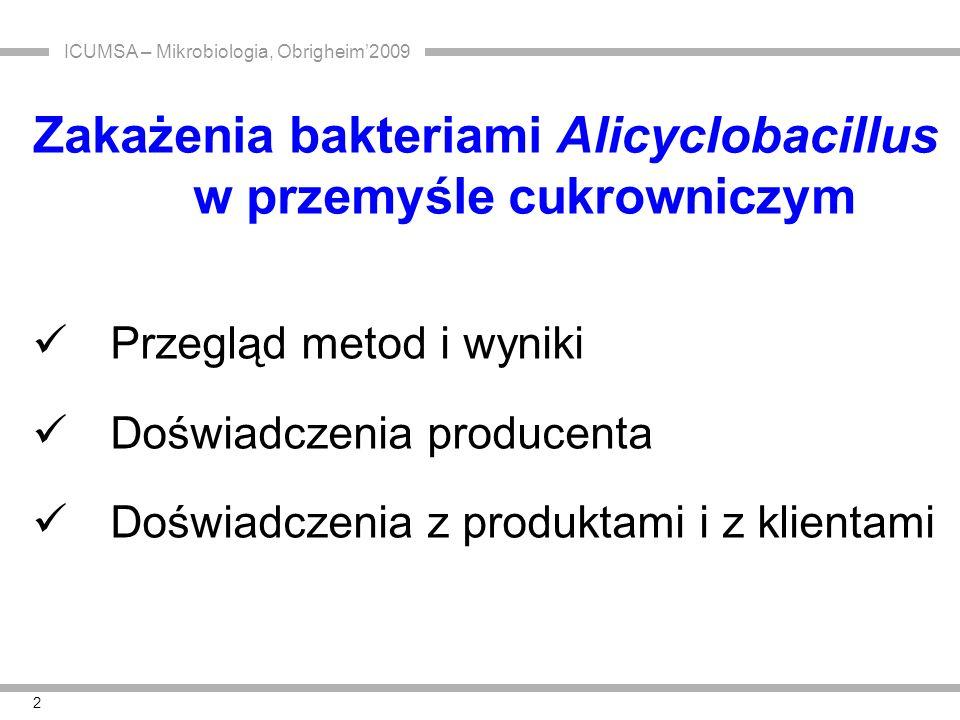 3 Bakterie z rodzaju Alicyclobacillus  ASB lub ATSB ( AcidoThermophilic Sporeforming Bacteria) TAB ( Thermoacidophilic Bacteria)  tlenowe bakterie przetrwalnikujące o termoopornych endosporach  optymalna temperatura wzrostu 42 - 53°C  kwasolubne, optymalne pH 3,5 – 5,0  nieprzejrzyste, białe lub kremowe kolonie