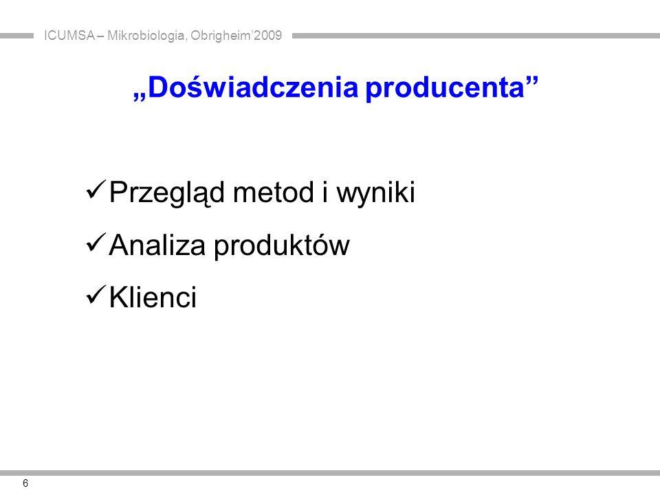 ICUMSA – Mikrobiologia, Obrigheim'2009 7 2008 - Coca Cola określa wymagania dla cukru płynnego i syropu: Bakterie z rodzaju Alicyclobacillus nie więcej niż 1000 jtk/50g s.s.