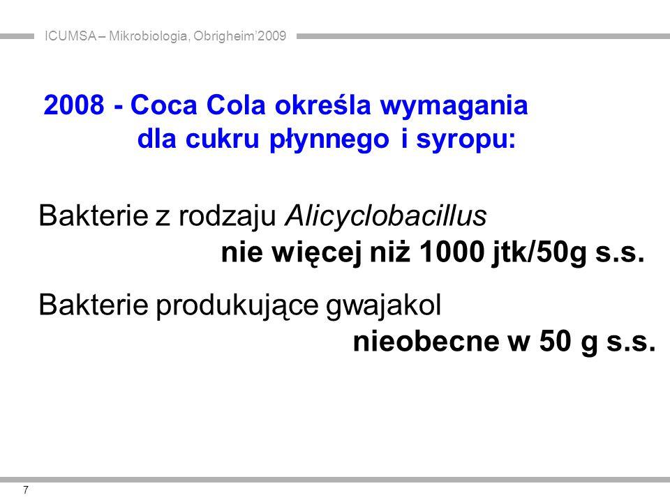 ICUMSA – Mikrobiologia, Obrigheim'2009 8 K agarYGS agarBAT agar Yeast extract2,52,0 Peptone5,0 Glucose1,0 5,0 Skrobia rozpuszczalna2,0 Tween 801,0 Roztwór mikroelementów1,0 ml Agar15,0 pHpH 3,7 25% L-malic-acid pH 3,7 1 N HCl pH 4,0 1 N H 2 SO 4 Lit.: IFU No 12, Sep.