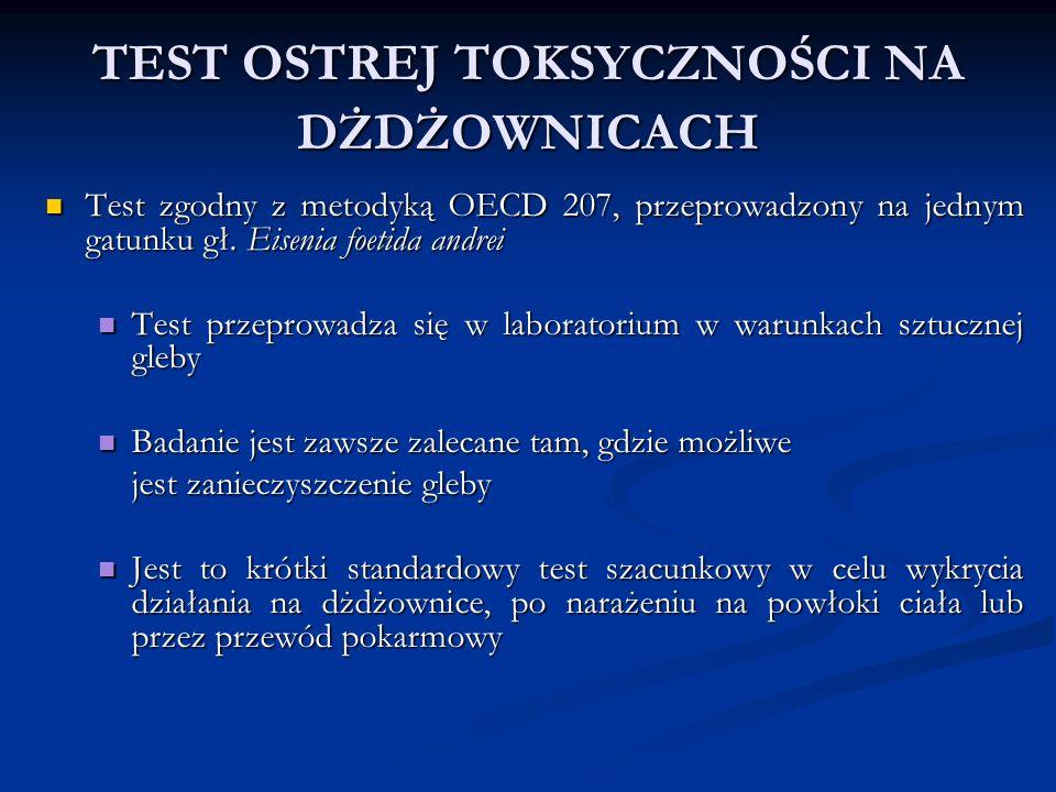 TEST OSTREJ TOKSYCZNOŚCI NA DŻDŻOWNICACH Test zgodny z metodyką OECD 207, przeprowadzony na jednym gatunku gł. Eisenia foetida andrei Test zgodny z me