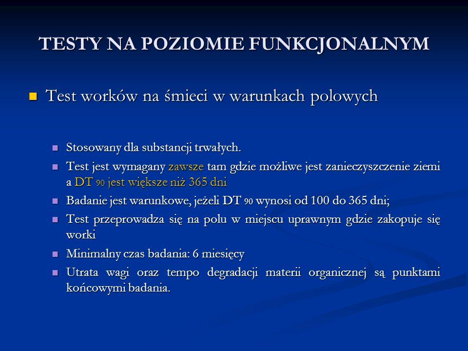 TESTY NA POZIOMIE FUNKCJONALNYM Test worków na śmieci w warunkach polowych Test worków na śmieci w warunkach polowych Stosowany dla substancji trwałyc