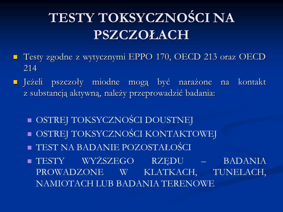 TESTY TOKSYCZNOŚCI NA PSZCZOŁACH Testy zgodne z wytycznymi EPPO 170, OECD 213 oraz OECD 214 Testy zgodne z wytycznymi EPPO 170, OECD 213 oraz OECD 214