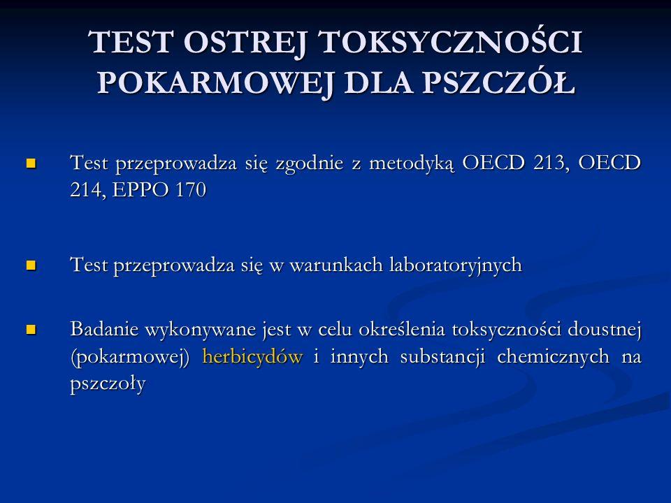 TEST OSTREJ TOKSYCZNOŚCI POKARMOWEJ DLA PSZCZÓŁ Test przeprowadza się zgodnie z metodyką OECD 213, OECD 214, EPPO 170 Test przeprowadza się zgodnie z