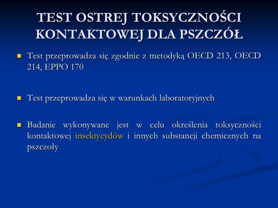 TEST OSTREJ TOKSYCZNOŚCI KONTAKTOWEJ DLA PSZCZÓŁ Test przeprowadza się zgodnie z metodyką OECD 213, OECD 214, EPPO 170 Test przeprowadza się zgodnie z