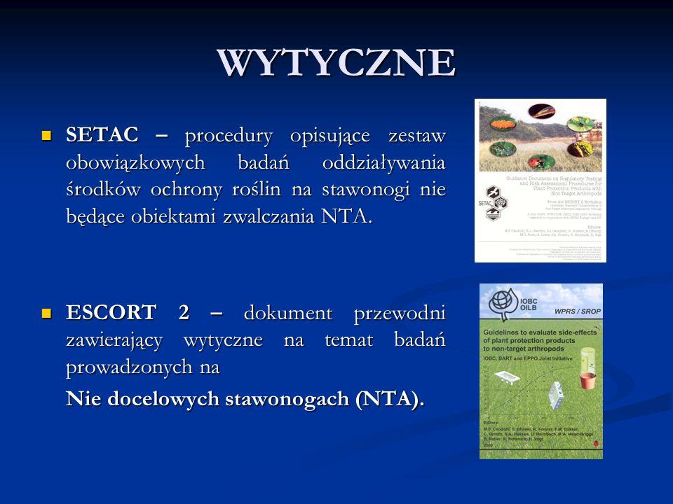 WYTYCZNE SETAC – procedury opisujące zestaw obowiązkowych badań oddziaływania środków ochrony roślin na stawonogi nie będące obiektami zwalczania NTA.
