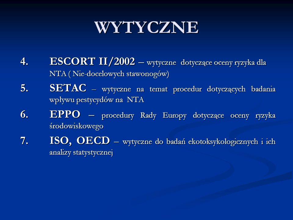 WYTYCZNE 4. ESCORT II/2002 – wytyczne dotyczące oceny ryzyka dla NTA ( Nie-docelowych stawonogów) 5. SETAC – wytyczne na temat procedur dotyczących ba