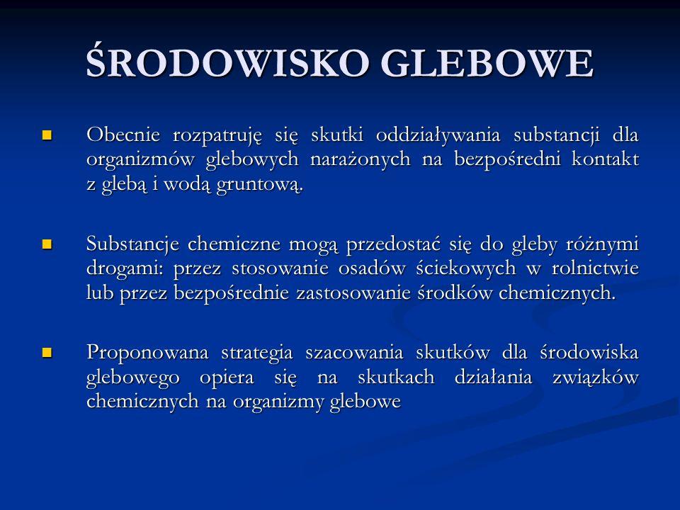 SZACOWANIE SKUTKÓW DLA ORGANIZMÓW GLEBOWYCH MAKROORGANIZMY GLEBOWE MAKROORGANIZMY GLEBOWEDżdżownice Skoczogonki (Collembola) Roztocza (Gamasida) MIKROORGANIZMY GLEBOWE MIKROORGANIZMY GLEBOWE