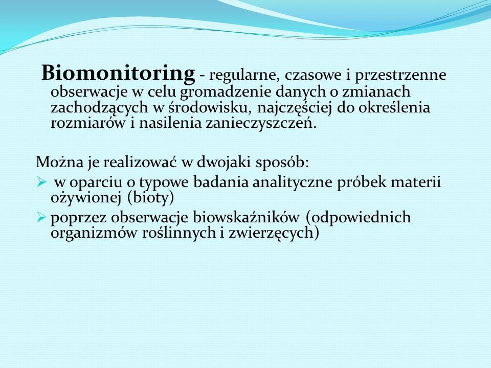 Biomonitoring - regularne, czasowe i przestrzenne obserwacje w celu gromadzenie danych o zmianach zachodzących w środowisku, najczęściej do określenia rozmiarów i nasilenia zanieczyszczeń.