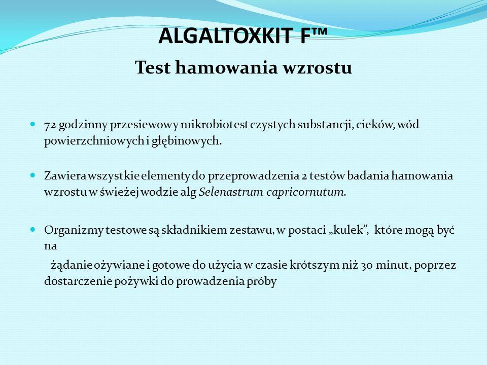 ALGALTOXKIT F™ Test hamowania wzrostu 72 godzinny przesiewowy mikrobiotest czystych substancji, cieków, wód powierzchniowych i głębinowych. Zawiera ws