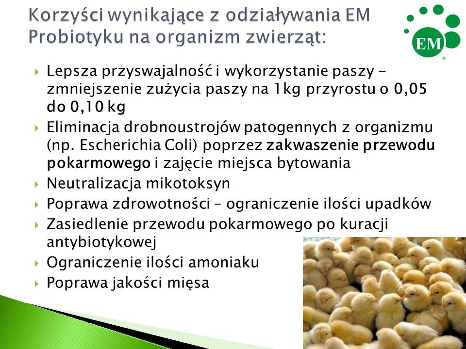  Lepsza przyswajalność i wykorzystanie paszy - zmniejszenie zużycia paszy na 1kg przyrostu o 0,05 do 0,10 kg  Eliminacja drobnoustrojów patogennych