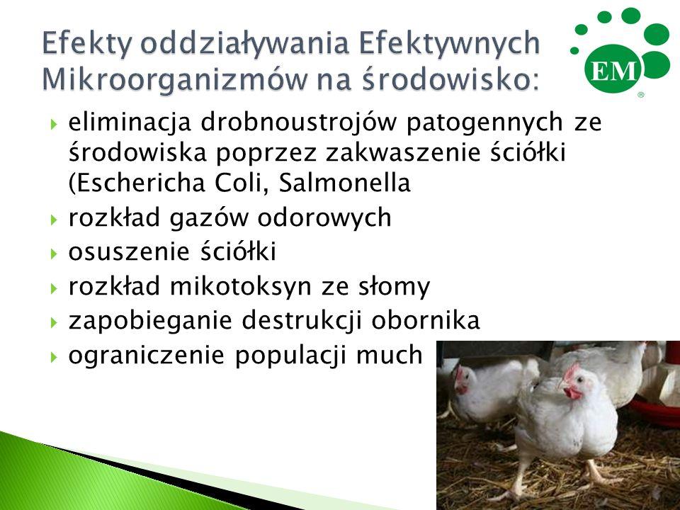 eliminacja drobnoustrojów patogennych ze środowiska poprzez zakwaszenie ściółki (Eschericha Coli, Salmonella  rozkład gazów odorowych  osuszenie ś