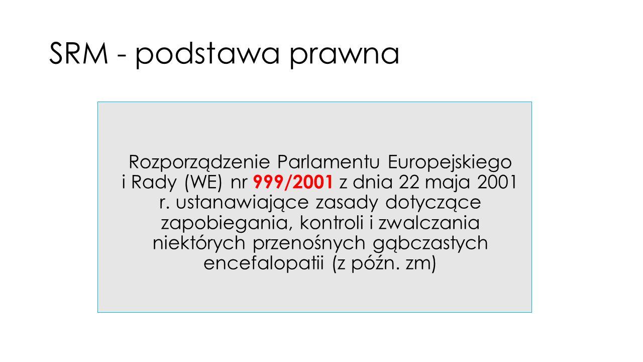 SRM - podstawa prawna Rozporządzenie Parlamentu Europejskiego i Rady (WE) nr 999/2001 z dnia 22 maja 2001 r.