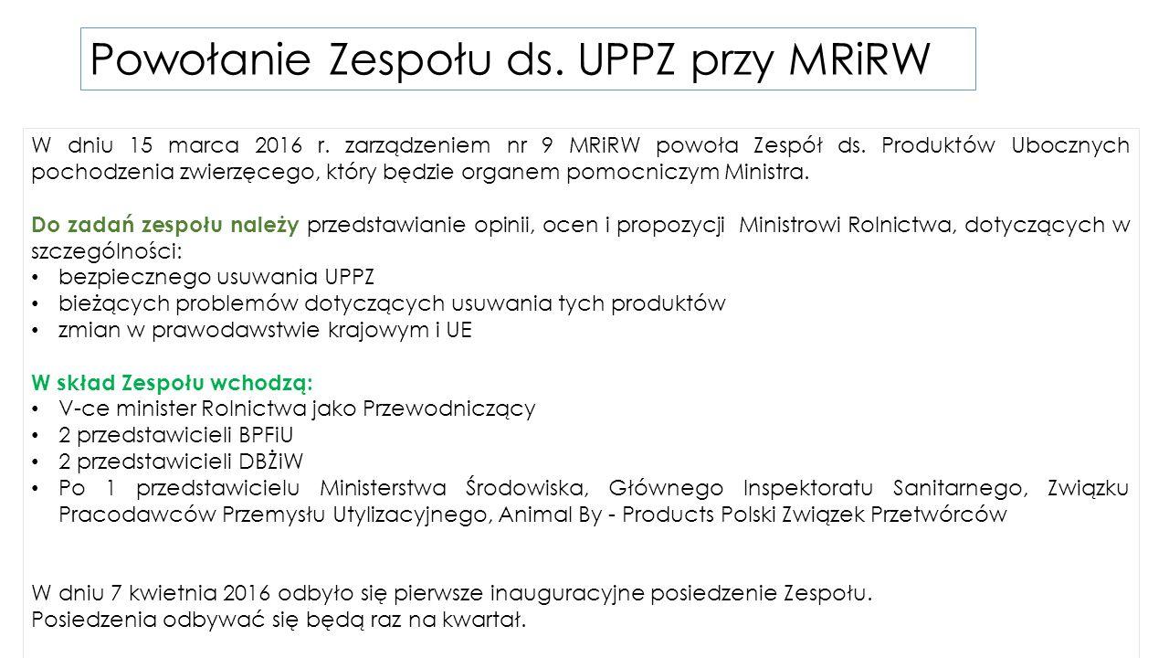 Powołanie Zespołu ds.UPPZ przy MRiRW W dniu 15 marca 2016 r.