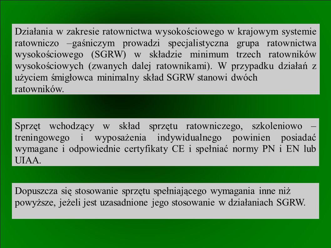Działania w zakresie ratownictwa wysokościowego w krajowym systemie ratowniczo –gaśniczym prowadzi specjalistyczna grupa ratownictwa wysokościowego (SGRW) w składzie minimum trzech ratowników wysokościowych (zwanych dalej ratownikami).