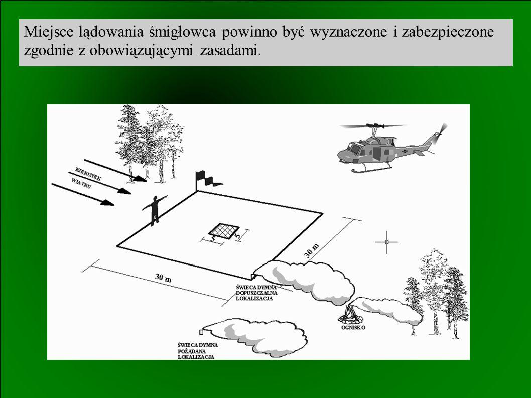 Miejsce lądowania śmigłowca powinno być wyznaczone i zabezpieczone zgodnie z obowiązującymi zasadami.