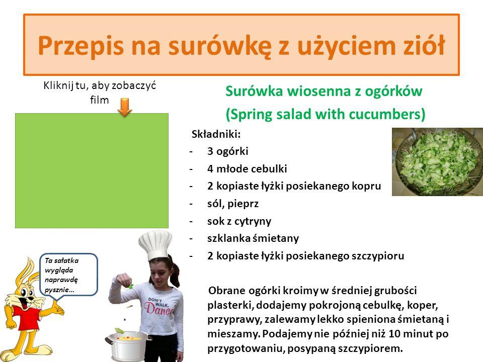 Przepis na koktajl z użyciem ziół Koktajl wiosenny (Spring cocktail) Składniki: - 1l maślanki - 3 kopiaste łyżki świeżej drobno posiekanej zieleniny (koper, natka pietruszki, szczypior, rzeżucha) - 2 ząbki czosnku - sól, pieprz Opłukaną, obsuszoną zieleninę rozdrabniamy, czosnek siekamy.